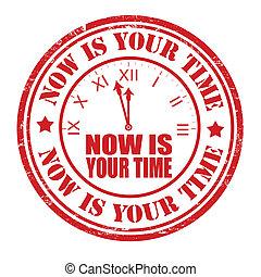 estampilla, ahora, su, tiempo