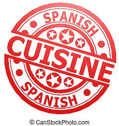 estampilla, cocina, español