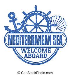 Estampilla de mar mediterránea