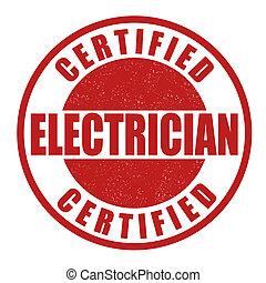 estampilla, electricista, certificado