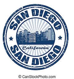 estampilla, estado, san, ciudad, diego, california