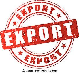 estampilla, exportación, rojo