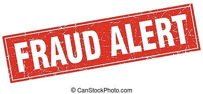 estampilla, fraude, cuadrado, alarma