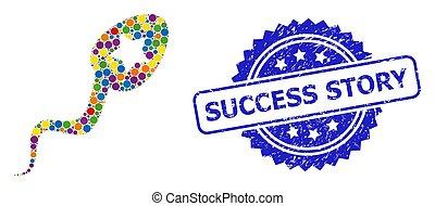estampilla, ganador, historia, rasguñado, coloreado, brillante, collage, esperma, éxito