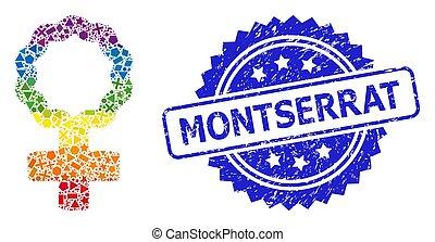 estampilla, geométrico, precinto de goma, arco irirs, montserrat, símbolo, célula, hembra, mosaico