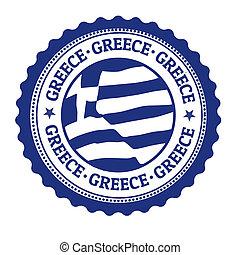 estampilla, grecia, o, etiqueta