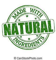estampilla, hecho, natural, ingredientes