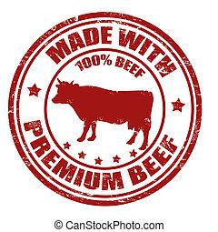 estampilla, hecho, prima, carne de vaca