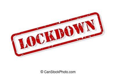estampilla, lockdown, vector, caucho