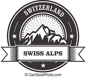 estampilla, montañas, suiza, -, alpes