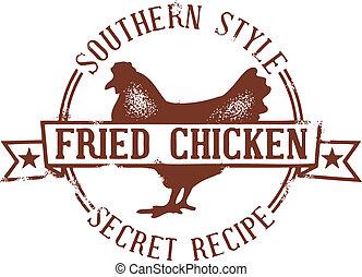 estampilla, pollo, frito, meridional