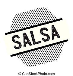 estampilla, salsa, negro