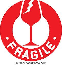 estampilla, symbol), frágil, (fragile