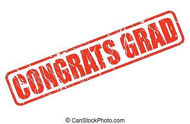 estampilla, texto, grad, rojo, congrats