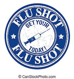 estampilla, tiro de la gripe