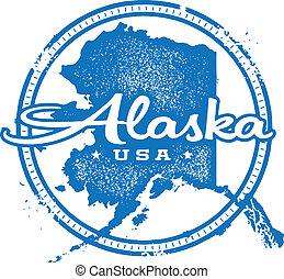 estampilla, vendimia, estado, alaska, estados unidos de américa