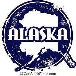 estampilla, vintaeg, estilo, alaska, estado