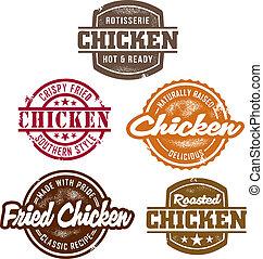 Estampillas clásicas de pollo