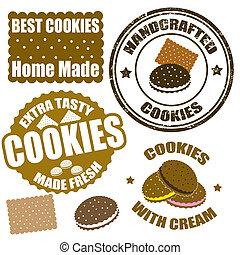 Estampillas de galletas y etiquetas