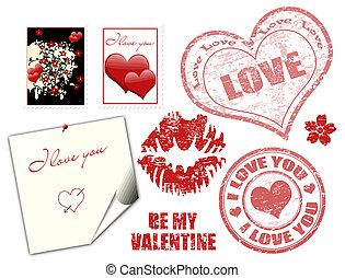 Estampillas de San Valentín y símbolo