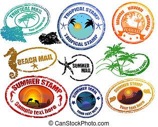 Estampillas de verano tropicales