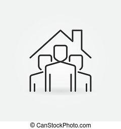 estancia, gente, debajo, vector, señal, icon., contorno, hogar, techo