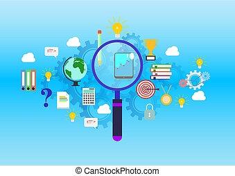 Estandarte de diseño plano de encontrar la educación correcta, profesión, y responder a todas las preguntas