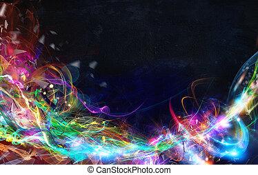 Estandarte de movimiento abstracto moderno sobre fondo oscuro