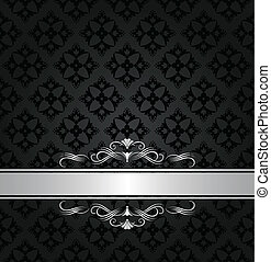 Estandarte de plata en papel de pared negra