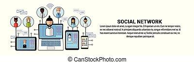 Estandarte de redes sociales con el concepto de conexión de los negocios espaciales copiado