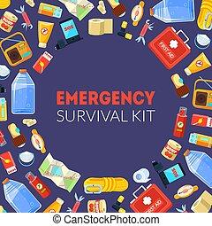 Estandarte de supervivencia de emergencia con necesidades de viaje ilimitada de vectores vectoriales