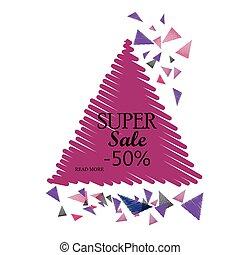 Estandarte de venta triangular. Ilustración de vectores.