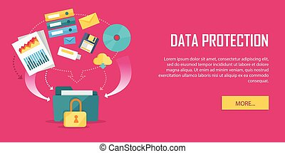 Estandarte de video web de protección de datos al estilo plano