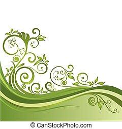 Estandarte floral verde aislado