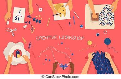 Estandarte horizontal colorido con manos haciendo artesanías decorativas... dibujo, sello, bordado, tejido, tejido, trabajo de recortes. Un taller creativo para niños. Ilustración vectorial plana.