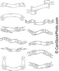 Estandartes de cinta y pergamino aislados en blanco
