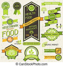Estandartes de comida orgánica. Un conjunto de etiquetas y etiquetas.