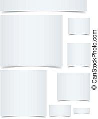 Estandartes de espacio en blanco con bordes rizados