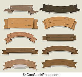 Estandartes de madera y cintas