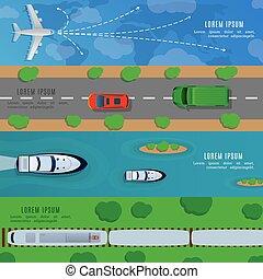 Estandartes de viaje y transporte horizontales con un coche de barco, un tren de avión ilustración vectorial de la vista superior