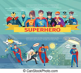 Estandartes del equipo de superhéroes listos