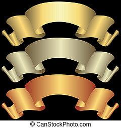 Estandartes dorados, plateados y bronceados