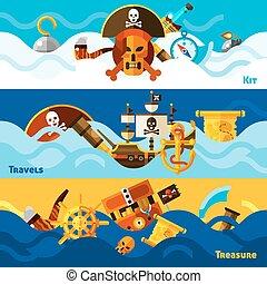 Estandartes horizontales de piratas