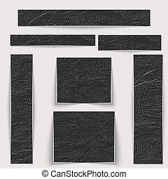 Estandartes texturados. La piel negra arrugada de diferentes tamaños.