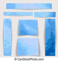 Estandartes texturados. Manchas acuarelas azules de diferentes tamaños.