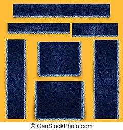 Estandartes texturados. Textura de tela azul denim con flecos.