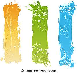 Estandartes verticales con elementos florales