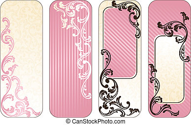 Estandartes verticales romanos franceses en rosa