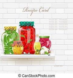 estante, colección, alimento preservado, delicioso, sano, retro