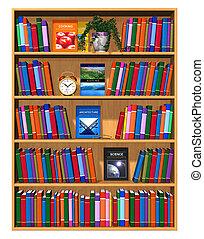 Estante de madera con libros de color